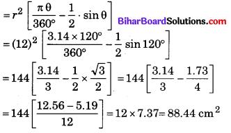 Bihar Board Class 10 Maths Solutions Chapter 12 वृतों से संबंधित क्षेत्रफल Ex 12.2 Q7