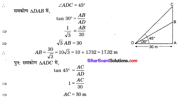Bihar Board Class 10 Maths Solutions Chapter 9 त्रिकोणमिति के कुछ अनुप्रयोग Additional Questions LAQ 8