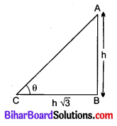 Bihar Board Class 10 Maths Solutions Chapter 9 त्रिकोणमिति के कुछ अनुप्रयोग Additional Questions VSQ 1